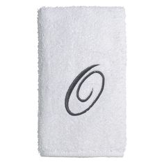 Avanti Embroidered Script Monogram Bath Towel, White