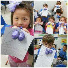 Proceso para ver la cantidad de aire que tienen nuestros niños en los pulmones, con globos.