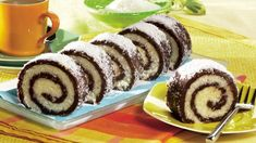 Coconut roulade- coconut roll Ingredients : grinded biscuits 2 spoons of cocoa sugar su. Czech Recipes, Tea Recipes, Sweet Recipes, Cooking Recipes, Czech Desserts, Romanian Desserts, High Tea Food, Kolaci I Torte, English Food