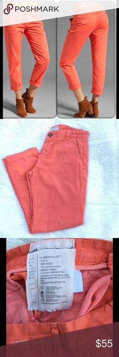 "Current/Elliott 'The Captain Trouser' EUC, 'The Captain Trouser' in Bright Coral. 100% cotton, very soft pants!! Pockets at both hips. Zipper fly with button closure. Hip to hip: about 15""; front rise: 10""; inseam: 26""; ankle opening: 6"".  They look cute with ankles rolled up or can be worn straight. Current/Elliott Pants Ankle & Cropped"