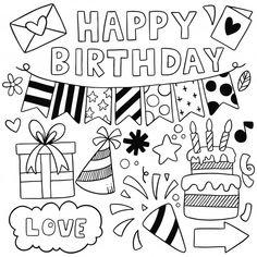 Hand drawn party doodle happy birthday P. Happy Birthday Doodles, Happy Birthday Drawings, Happy Birthday Art, Birthday Card Drawing, Happy Birthday Posters, Birthday Cards For Friends, Card Birthday, Birthday Greetings, Birthday Ideas