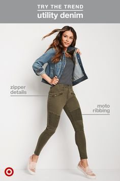 The utilitarian trend is going strong this fall, which means we're seeing tons of military-inspired details making their way to our favorite jeans. Get the look with a pair in olive green—add bonus points for moto ribbing through the thighs and knees (they're actually super slimming!). Play with texture by wearing them with a denim jacket and keep the look casual with slip-on sneakers.