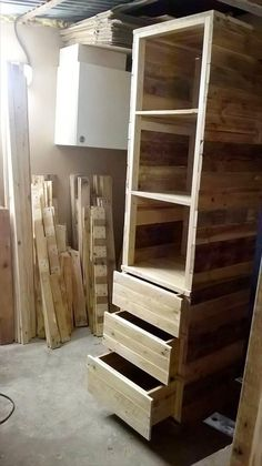 recycled wooden pallet cupboard or closet