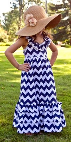 Little Girls Dress Blue Chevron Maxi - Lots Of Colors Available on Etsy, $29.99