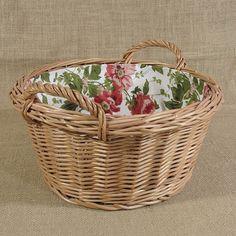 Okrągły koszyk z uszkami wyściełany materiałem wzór - czerwone róże