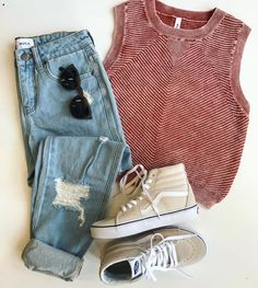 @hobiesurfboutique featuring our Wake Me Up Ribbed Sweater Tank and our Kewl Kid Distressed Denim Jeans | RVCA