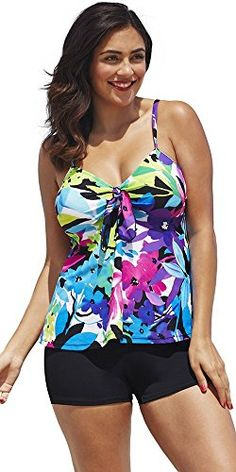 c7c657f36f2 Introducing Shore Club Womens Plus Size TieFront Boy Shortini 18 Multi.  Great product and follow