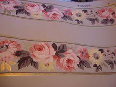 SALE Vintage Wallpaper Pink Roses Gray Crafts Furniture 1940s Vintage Supplies Joliet