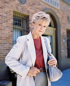 Jessica Fletcher in her crime-solving attire.