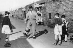 "22659b58bfcb explodingcolours: "" Bobby Charlton playing football with children in his  street, days after the Munich Air Disaster."