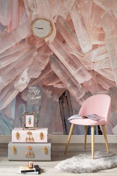 Bring some geode glam into your living spaces! This rose crystal wallpaper design brings a mystical feel to your home while staying completely stylish.