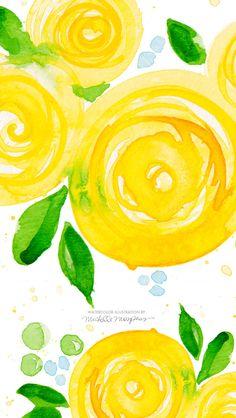 【人気61位】黄色い花の水彩画 | スマホ壁紙/iPhone待受画像ギャラリー