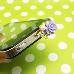 Creative Pearl Crystal Purple Rose Anti Dust Plug 3.5mm Phone Accessory Charm Headphone Jack Earphone Cap for iPhone 4 4S 5 iPad HTC Samsung on Etsy, $3.98