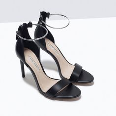 LEATHER HIGH HEEL SANDAL WITH ANKLE STRAP-Shoes-Woman-SHOES & BAGS | ZARA Romania