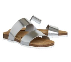 Office Oslo Two Strap Footbed Silver - Sandals