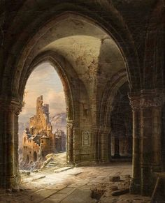 """Wilhelm Steuerwaldt (German, 1815-1871) """"A view of snow-covered ruins"""" (1854)"""