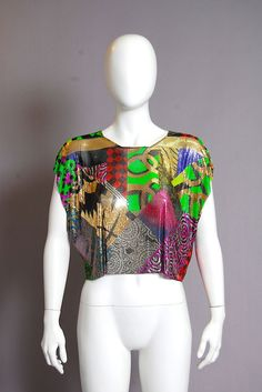 DOUGLAS FERGUSON Multi-color Patchwork 4 point Collar. BEAUTY!