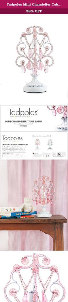 """Tadpoles Mini Chandelier Table Lamp, Pink. A lovely little chandelier to offer a soft bedside light in any room. 10"""" tall metal chandelier in antique white finish has glass beads and acrylic dangles. This table chandelier gives off a delicate light with one 25 watt bulb. Plugs into any standard outlet."""