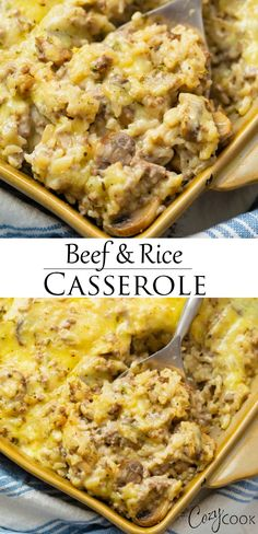 This Cheesy Ground Beef and Rice Casserole is easy to make with pantry ingredients like cream of mushroom soup Your family will LOVE this quick dinner recipe groundbeefrecipes ricerecipes pantrymeals budgetmealplanning # Ground Beef Recipes For Dinner, Dinner With Ground Beef, Quick Dinner Recipes, Easy Casserole Recipes For Dinner Beef, Casseroles With Ground Beef, Ground Venison Recipes, Cooking With Ground Beef, Ground Beef Rice, Beef And Rice