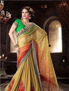 Adah_DN_11106 - Melodic Brick Red & Papayawhip Embroidered Saree