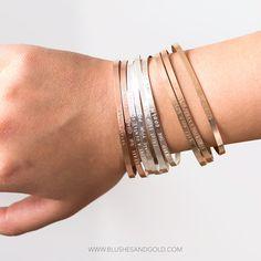 Bracelet Cuff Engraved Cuff Bracelet Thin Mantra by BlushesAndGold