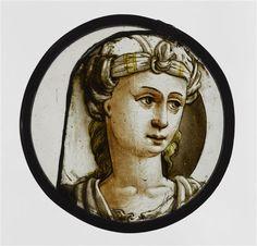Réunion des Musées Nationaux-Grand Palais - Ecouen. Vitrail: tête de femme coiffée d'un turban. EC170c, 1550, grisaille et jaune d'argent.