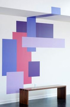 Blik has introduced two new collections of abstract geometric wall decals by Mina Javid that you can mix and match for abstract wall art goodness. Geometric Wall Paint, Abstract Wall Art, Block Painting, House Painting, Faux Painting, Room Wall Painting, Wall Paint Colors, Wall Patterns, Paint Designs