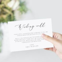 Main Elegant wishing well card wedding gift card, wedding wishing well card,wedding insert card, ins Wedding Invite Wording Funny, Wedding Invitation Cards, Wedding Cards, Wedding Gifts, Event Invitations, Wedding Stationary, Wishing Well Wedding, Wishing Well Poems, Elopement Reception