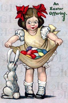 Fantastico Girl And Easter Bunny Rabbit. VINTAGE Easter Illustration. Easter BUNNY DIGITAL Download. Vintage Easter Print. on Etsy, $1.99