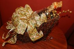 GIFT BASKET - twig sleigh filled with golden cheer - Find gift baskets at Market Alley Wines, Monmouth IL