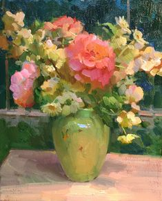 Peonies and blossoms 16x20, Ovanes Berberian sold paintings