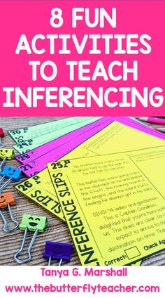 "I bet, if you teach reading, you've heard the word ""inference"" before. This post outlines fun ways to teach inferences to your students! 5th Grade Reading, Kindergarten Reading, Teaching Reading, Learning, Inference Activities, Comprehension Activities, Reading Intervention, Reading Skills, Creative Teaching"