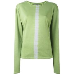 Suzusan vertical stripe jumper (320 AUD) ❤ liked on Polyvore featuring tops, sweaters, green, print sweater, striped jumper, vertical stripe top, striped sweater and print top