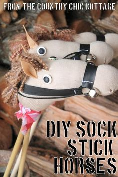 DIY Sock Stick Horses Tutorial from The Country Chic Cottage @Angie Wimberly Wimberly Wimberly Countrychiccottage