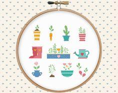 Garden cross stitch pattern pdf  pillow por GentleFeather en Etsy