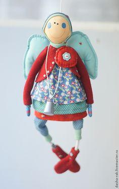 Купить Ангел с крыльями цвета облака - ангел, дом, подарок на новый год, крылья, красный, горошек