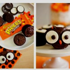 Food: Candy Crafts: Owls Maybe with mini cupcakes and use mini oreos too