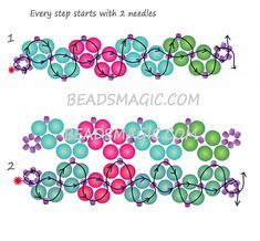 Resultado de imagen para free seed bead patterns and instructions Beaded Necklace Patterns, Beaded Bracelets Tutorial, Seed Bead Patterns, Seed Bead Bracelets, Color Patterns, Necklace Tutorial, Mosaic Patterns, Silver Bracelets, Seed Bead Tutorials