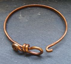 Copper bangle with clasp. Simple and can be embellished many ways.