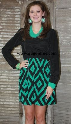 SALE Told in Bold Teal Aztec Dress FINAL $27.97 www.gugonline.com
