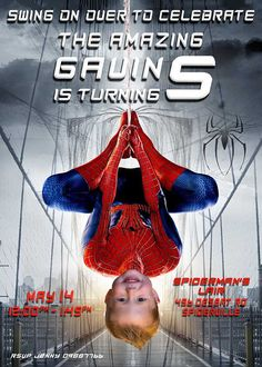 SPIDERMAN PARODY Birthday INVITE Spiderman by PartyPhotoInvites