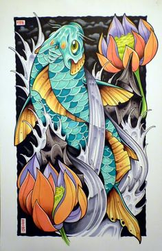 The Art of David Tevenal carpe koi Koi Dragon Tattoo, Dragon Koi Fish, Koi Tattoo Design, Japanese Koi Fish Tattoo, Japanese Tattoo Designs, Koi Art, Fish Art, Koi Kunst, Koi Tattoo Sleeve