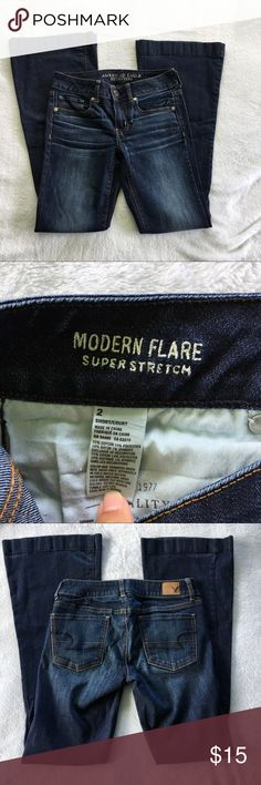 American Eagle super stretch modern flare jeans The fabric content is 71% Cotton, 14% Polyester, 14% Rayon and 1% Spandex. The inseam is short American Eagle Outfitters Jeans
