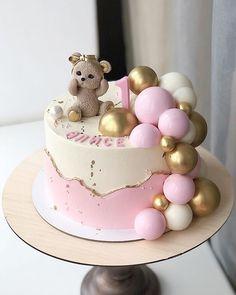 Girls First Birthday Cake, Birthday Cake With Flowers, Baby Birthday Cakes, First Birthday Cakes, Baby Girl Cakes, Balloon Cake, Little Cakes, Cake Creations, Baby Shower Cakes