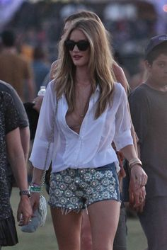 Embellished shorts & a clean white top to balance it off