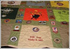 T-shirt quilt with patches