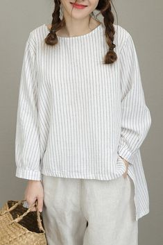 Casual Striped White And Black T Shirt Women Linen BlouseQ8181