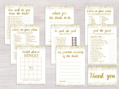Bridal Shower games Package, Funny Bridal Shower games Set, Bachelorette games pack, Shower Activity, Gold Glitter confetti games cards kit by AwesomeDigPic on Etsy https://www.etsy.com/listing/387222792/bridal-shower-games-package-funny-bridal