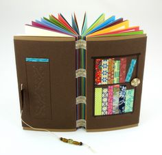 colorful exposed spine journal with multicolor pages | Sharp Handmade Books