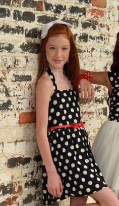 Elisa B Girls Dotted Knit Halter Dress